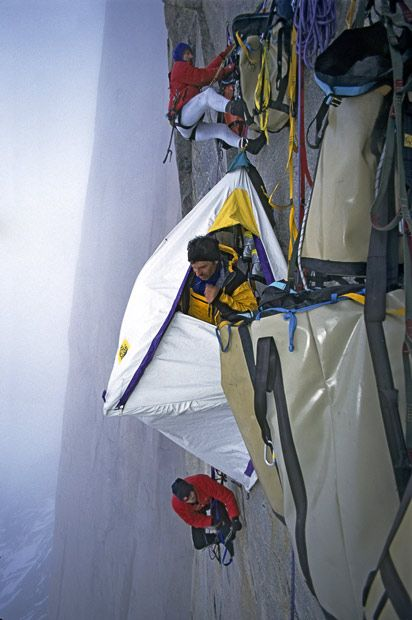 Pitching a tent on the side of a 4,000ft cliff face.